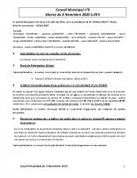 compte rendu du conseil municipal du 3 Novembre 2020