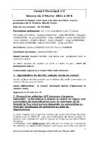 Compte-rendu du Conseil Municipal  du 9 février 2021